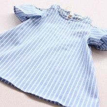 Blue Stripe Summer Children Baby Girls Dress