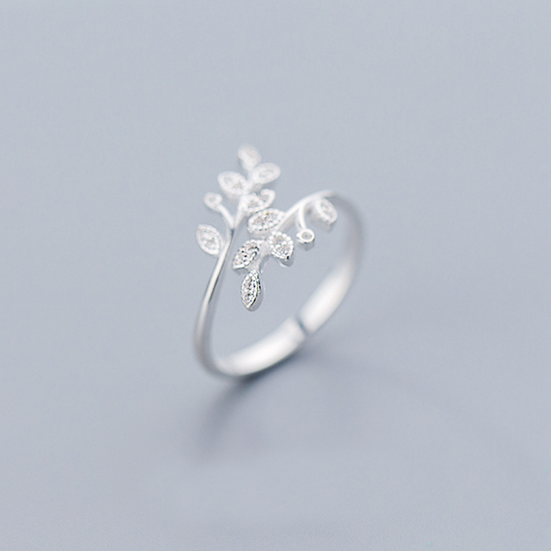 MloveAcc Hot Sale Authentic 925 Sterling Silver Leaf Adjustable Finger Ring For Women Sterling Silver Jewelry Gift