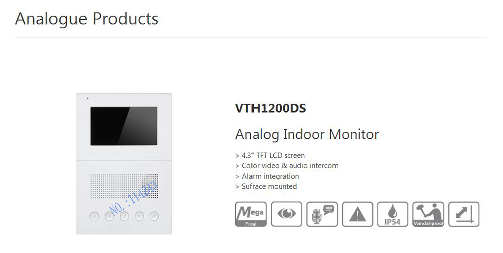 ФОТО Free Shipping DAHUA Analog Indoor Monitor Color video audio intercom without Logo VTH1200DS