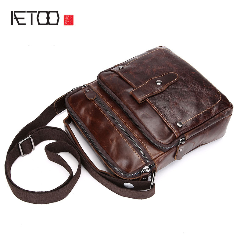 AETOO The first layer of leather oil men 's business package retro shoulder bag leather hand Messenger bag trend men bag 100% first layer of leather women business bag retro oil wax leather shoulder bag mobile messenger women bag trend hot