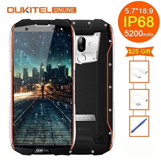 "Oukitel WP5000 IP68 impermeable 6 GB 64 GB 5200 mAh 5,7 ""18:9 pantalla Android 7,1 Helio P25 Octa Core 4G huella 9 V/2A Smartphone"