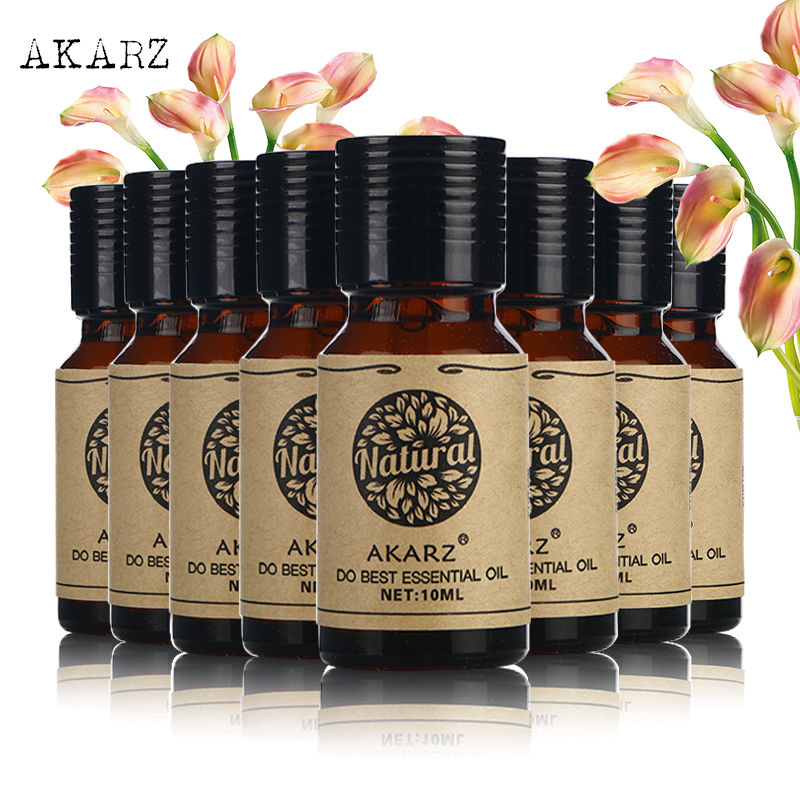 AKARZ value meals Geranium Jasmine Lavender Cherry blossom rose Musk Melissa Neroli skin care essential oil 10ml*8