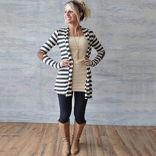 Womens Fashion Warm Long Sleeve Striped Arm Patches Cardigan Jacket Coat 09WG