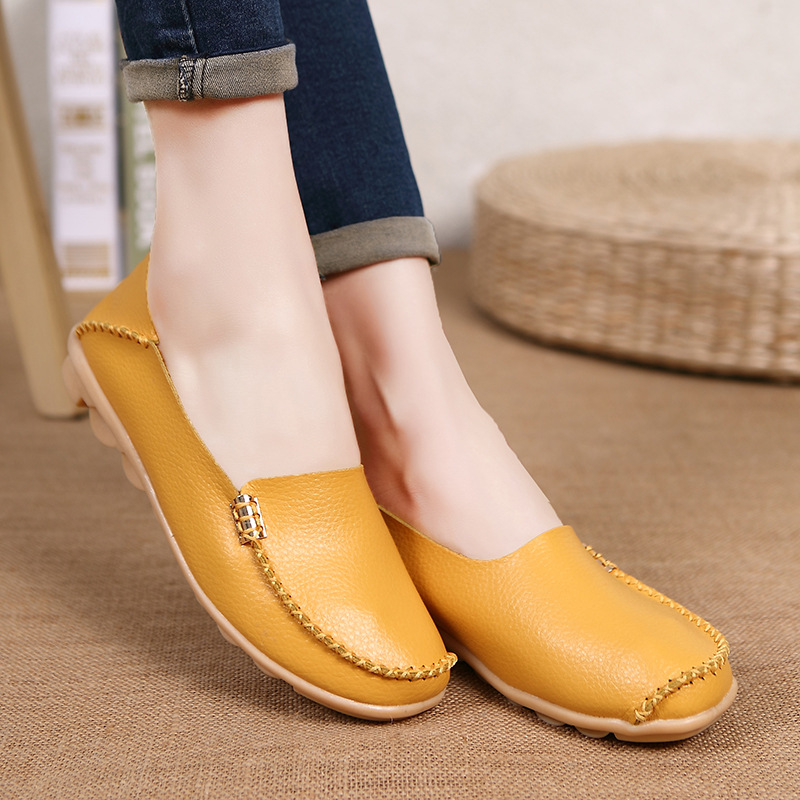 Genuine Leather Women Ballet Flats Summer Moccasins Loafers Casual Shoes Comfortable Slip On Ballerina Zapatos Mujer summer women ballet flats genuine leather shoes ladies soft non slip casual shoes flower slip on loafers moccasins zapatos mujer