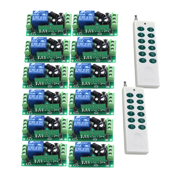 DC 24V 1CH 10A Wireless Remote Control Switch RF Remote Controller Receiver 12CH Transmitter 315/433MHZ