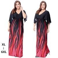 2017 New Autumn Long Dresses Casual V Neck Empire Print Plus Size Office Maxi Dress Short