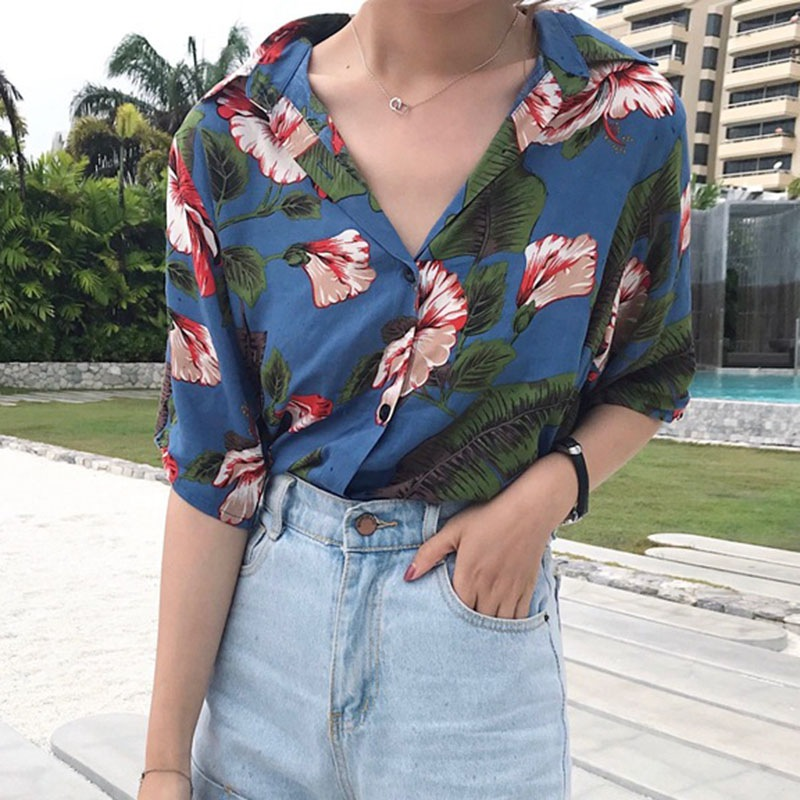 2019 Fashion Turn-down Collar Shirts Floral Printed Blouse Shorts Women Short Sleeve Female Summer Causal Blouse Tops