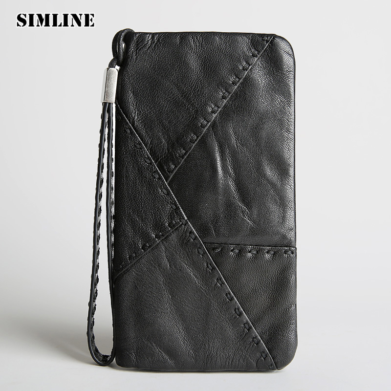 купить Vintage Genuine Sheepskin Leather Male Men's Long Wallet Purse Phone Wallets Card Holder Zipper Pocket Clutch Bag Bags For Men недорого