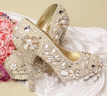 Gorgeous Unique Sparkling Ivory Crystal Flower Wedding Bridal Shoes Handmade Imitation Pearl Party Prom Shoes