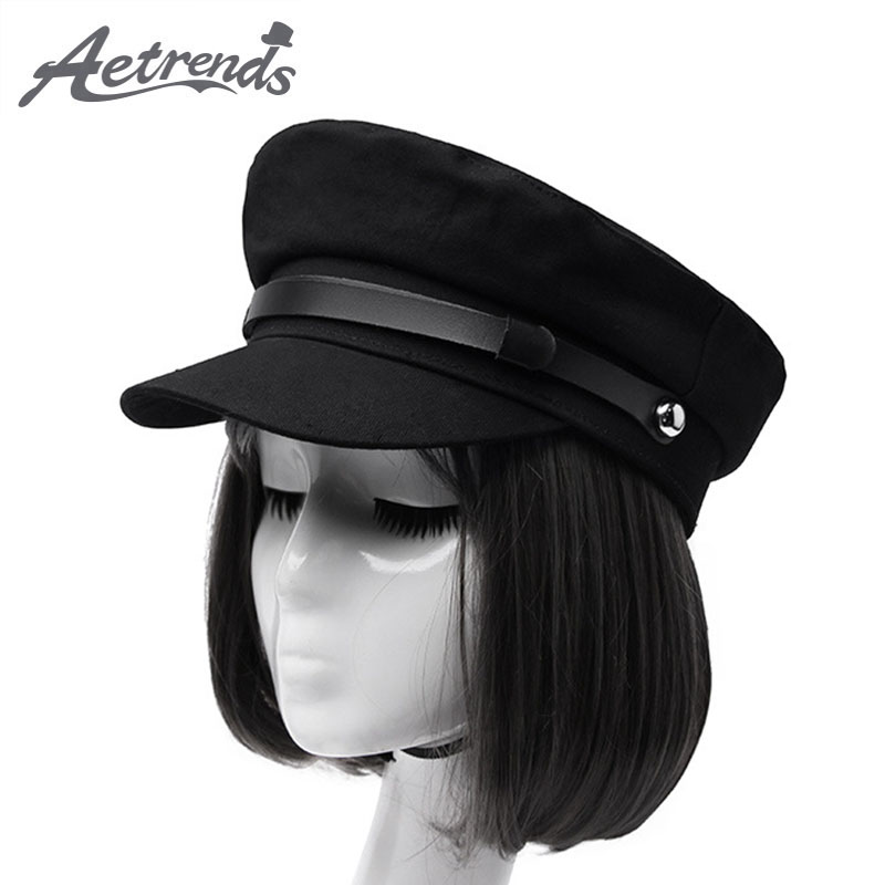 [AETRENDS] Black Military Caps Fashion Hats For Women Flat Hats Army Salior Military Hat Z-6704
