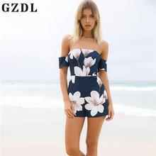 Gzdl пикантные Для женщин Beach Party Playsuit общая Лето Темно-синие молния Назад боди мода спинки карман печати комбинезон CL4099