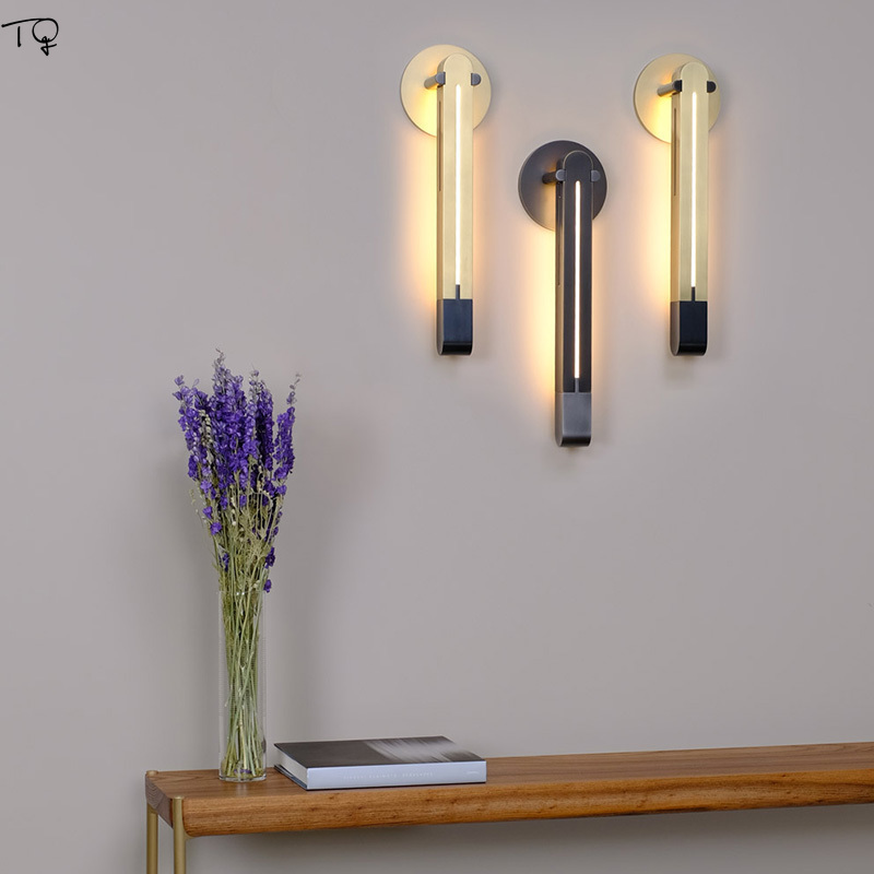 Nordic Post modern Wall Lamp Luxury Simple Metal Led Living Room Corridor Personality Bedroom Bedside Study Decoration Light in LED Indoor Wall Lamps from Lights Lighting