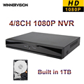 Dhl бесплатная доставка новый 1080 P HD сетевой видеорегистратор 4CH 8CH NVR IP камера наблюдения ONVIF мини видеорегистратор с 1 ТБ HDD