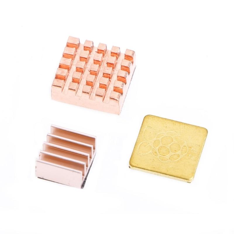 цена на 3 Pcs/Set Copper Heatsink Heat Sink Cooling Kit For Raspberry Pi 3 Model B dropshipping