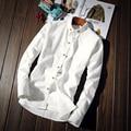 Hombres de la primavera camisa delgada otoño hombre blanco camisa casual de manga larga básica camisetas adolescentes