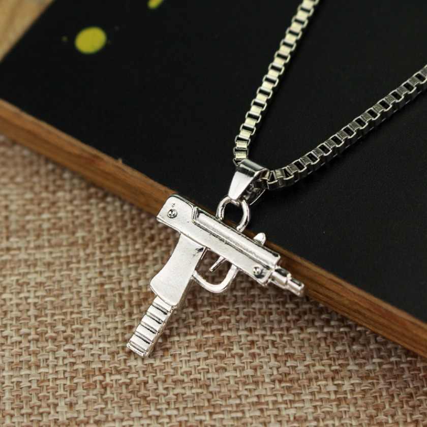 Ouro rosa vintage banhado a pistola uzi arma pingentes colares hip hop uzi pescoço corrente colar para homens feminino acessórios de festa punk