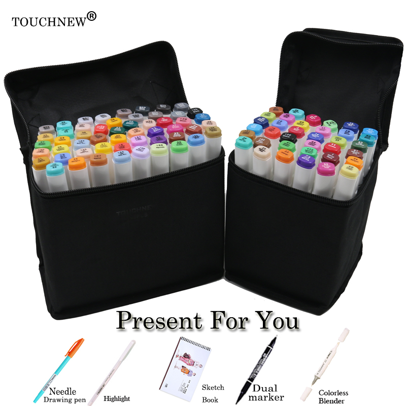 TOUCHNEW 168 colors Set Artist Dual Head Sketch Markers Set For School Drawing Sketch Marker Pen Design Supplies dainayw 12 cool grey colors marker pen grayscale dual head art markers set for manga design drawing school student supplies