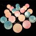 New Year Cotton Ball 2M 20-LED String Lights with US Plug for Wedding Garden Party Christmas Decoration