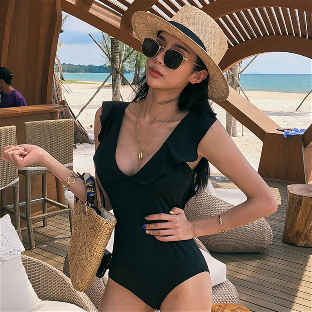 Image 2 - Ruffle One Piece Swimsuit Women Solid Swimwear Open Back Monokini Push Up Swim Suit Pad Bathing Suit Black Beachwear High Cut-in Body Suits from Sports & Entertainment