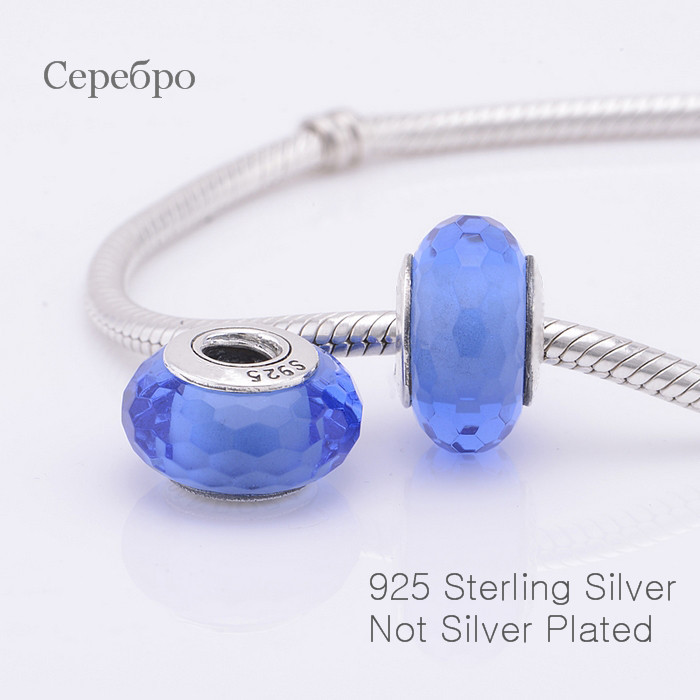 Fit for Bracelets Bangle 925 Sterling Silver Charms Light Blue Murano Glass Beads European style DIY Making Jewelry