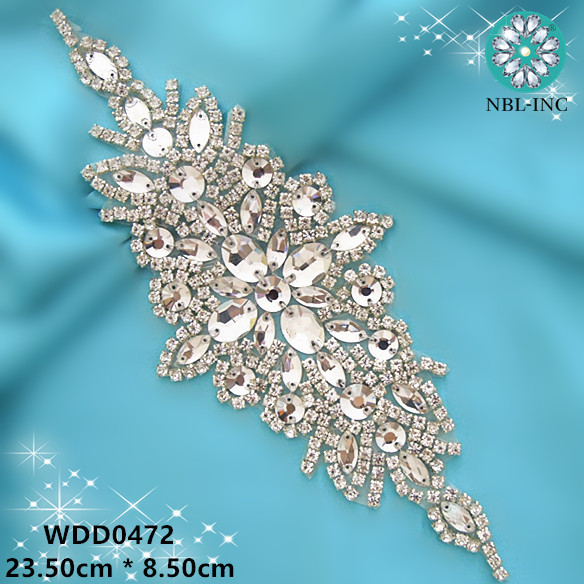 30PCS Wholesale hand beaded sewing bridal flower rose gold clear crystal rhinestone applique iron on