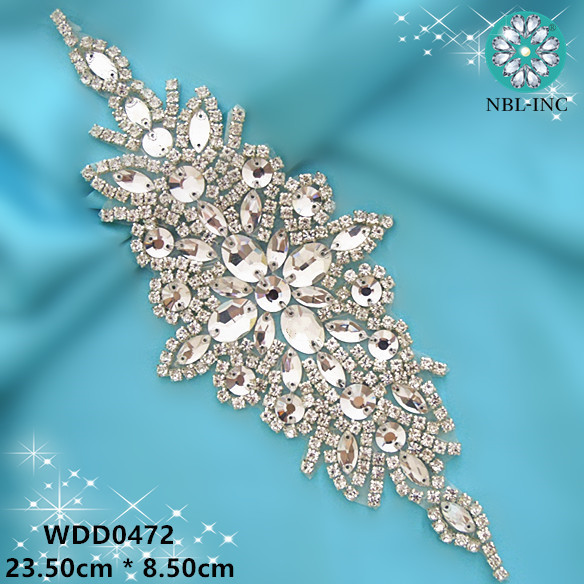 (30PCS)Wholesale hand beaded sewing bridal flower rose gold clear crystal  rhinestone applique iron ebf8dc25ee76