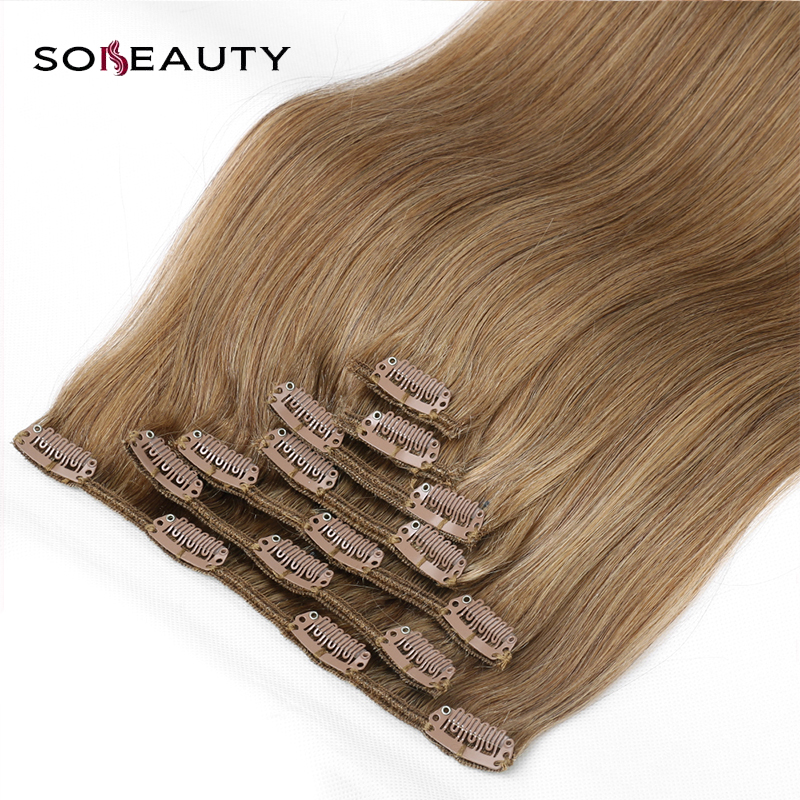 Sobeauty silky straight Machine Made Remy Brazilian hair 100% human hair extension Double Drawn Thick clip in hair 7piece/set(China)