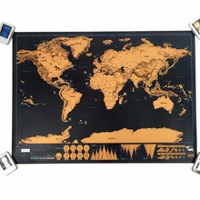 1 pcs New arrival Deluxe scratch off map the world blow Map Personalized World Map Mini blow Off Foil Layer Coating Poster 82×59