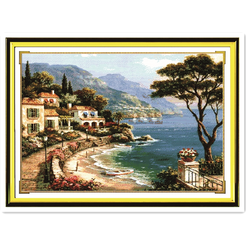 Landscape Cross Stitch Pola Harbor Gratis Cinta DIY Buatan Tangan Menjahit Cross Stitch Set Cross Stitch Dmc