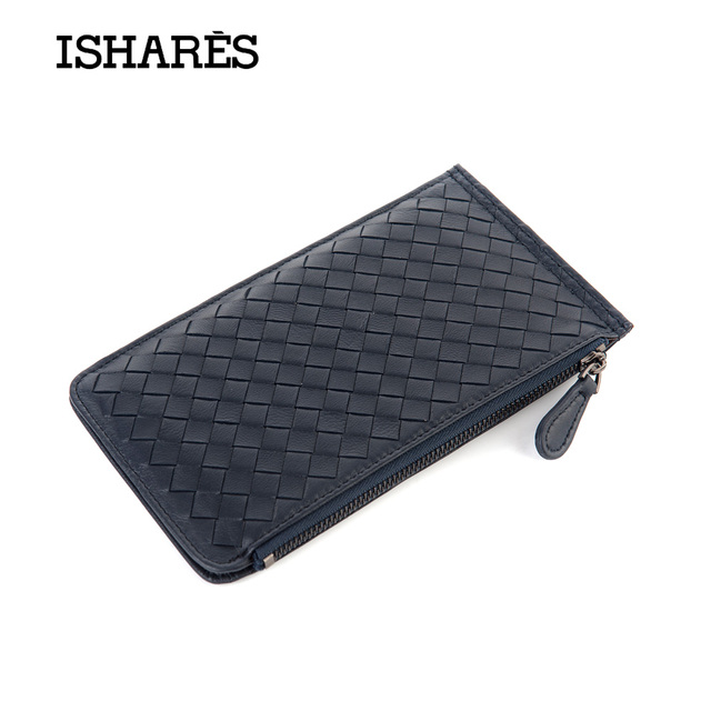 ISHARES Fashion Genuine Leather Women Weave Wallets Card & ID Holders Colors Zipper Credit Card holder Purses IS6015