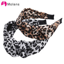 Molans Women Bow Plated Design Hair Accessories TurbanTwist Cross Hairband Female Wide Headwrap Girls Knot Leopard Hair Band(China)
