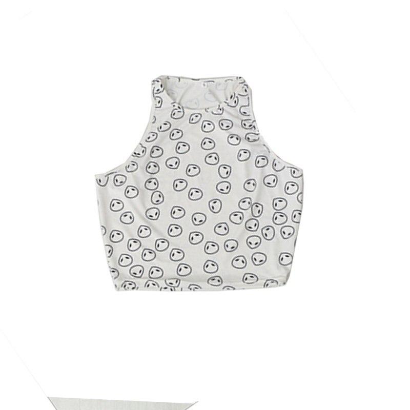 Women Summer Sleeveless Cotton Casual Crop Tops Pattern Halter Tank Tee Y001