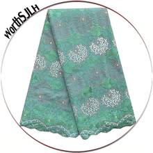 Latest Nigerian Lace Fabrics Cotton Swiss Embroidered Fabric Teal Green Peach Dry Africa High Quality