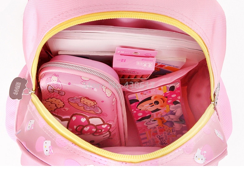 0efcba4a96ff Cute Sweet Pink Purple Rose Hello Kitty Backpack School Bags for Children  Girls Kids Kindergarten Preschool ...