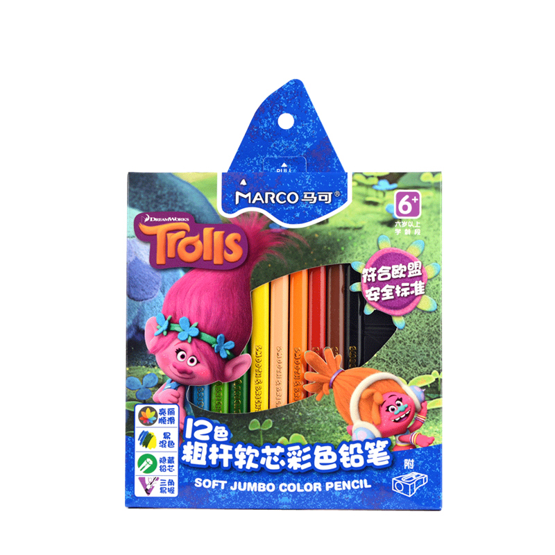 Marco 12/24 Colors Non-toxic Troll Oil Colored Pencils Set for Kids Special Gifts Sketching Drawing Pencil Art School Supplies marco raffine fine art colored pencils 24 36 48 colors drawing sketches mitsubishi colour pencil for school supplies