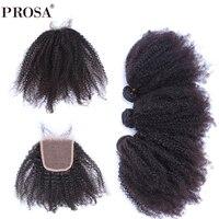 Афро странный фигурные 3 человеческих волос пучки с закрытием 4x4 монгольский натуральная волос натуральный черный прошва волос продукты