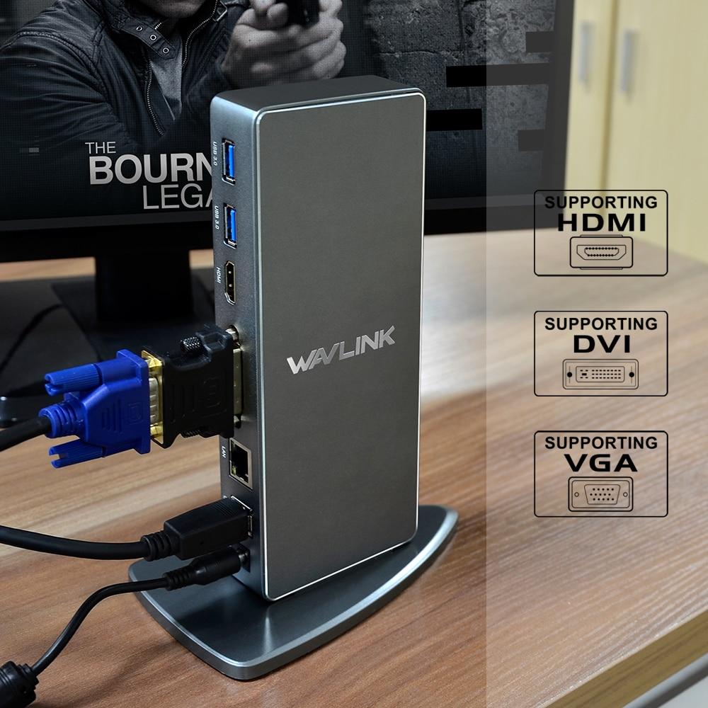 Wavlink Full HD 2048x1152 USB 3.0 Tip-C USB-C Universal Docking - Noutbuklar üçün aksesuarlar - Fotoqrafiya 3