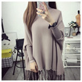 Maternity Clothes Sweater Women Loose Large Size Tassel Bat Shirt High Collar Shawl Thickening Autumn And Winter Fashion Materni