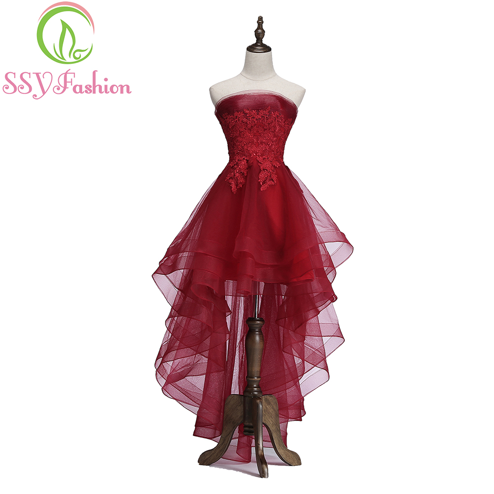 SSYFashion New Elegant Wine Red   Cocktail     Dress   Bride Banquet Strapless Short Front Long Back Party Formal Gown Robe De Soiree