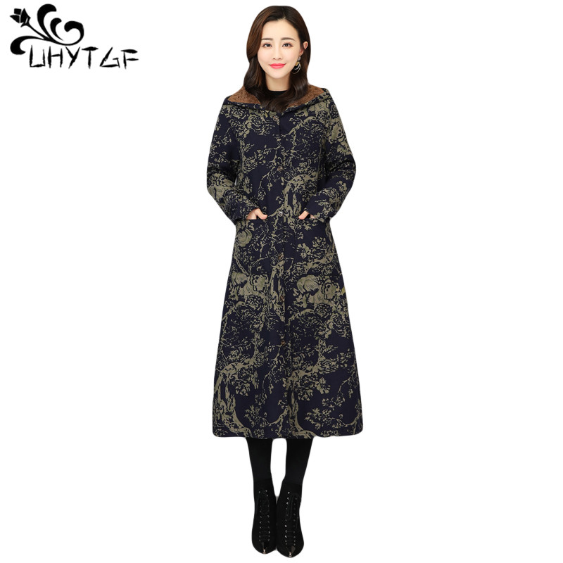 UHYTGF Woman   trench   Coat Plus Size tops 2019 Autumn Winter Female   trench   coats Thicken fashion Cardigan Women's   trench   Coat X319