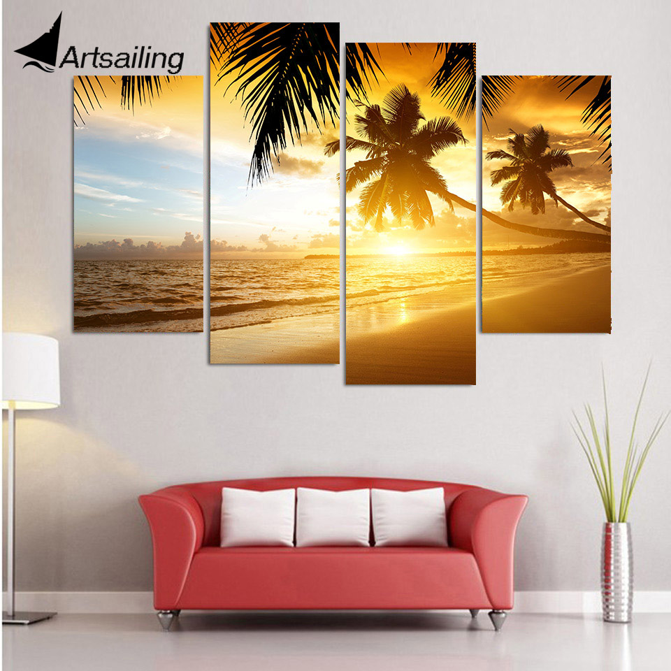 4 Piece Canvas Art Canvas Painting Tropical Paradise HD Printed Wall ...
