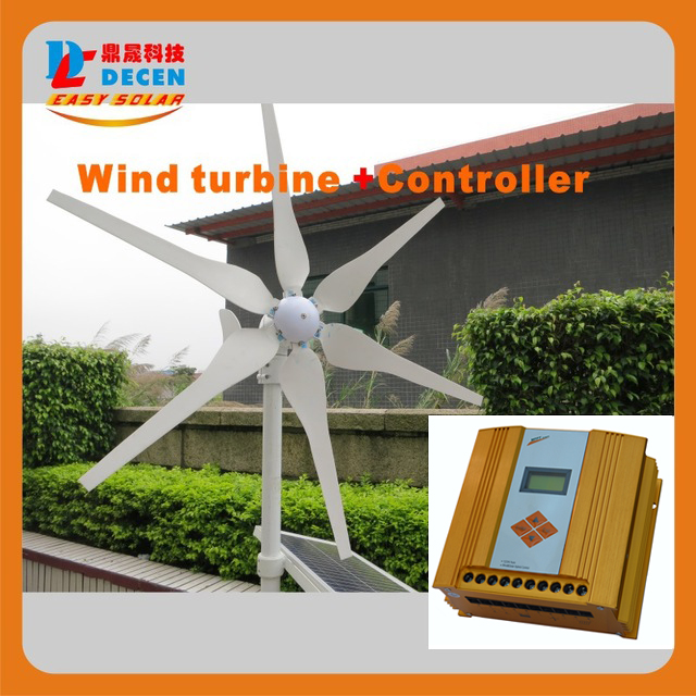 MAYLAR @ 1PC 400W 6 Blades High Efficiency Wind Generator Small Size Low Weight. Low Noise Easy Install +1 PC MPPT Controller
