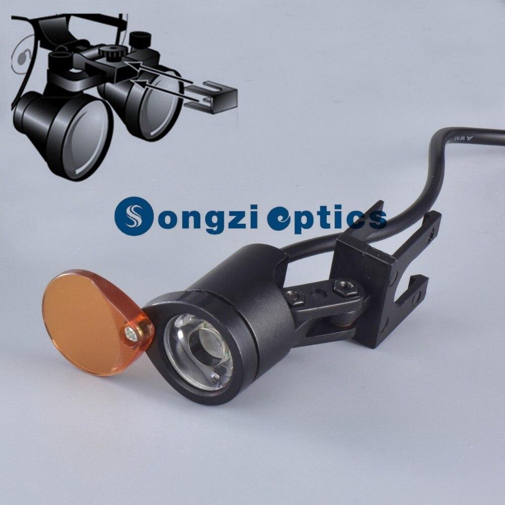 KD202A-1 стоматологический налобный фонарь поставляется с желтым переворачивающимся фильтром для работы с полимерными композициями