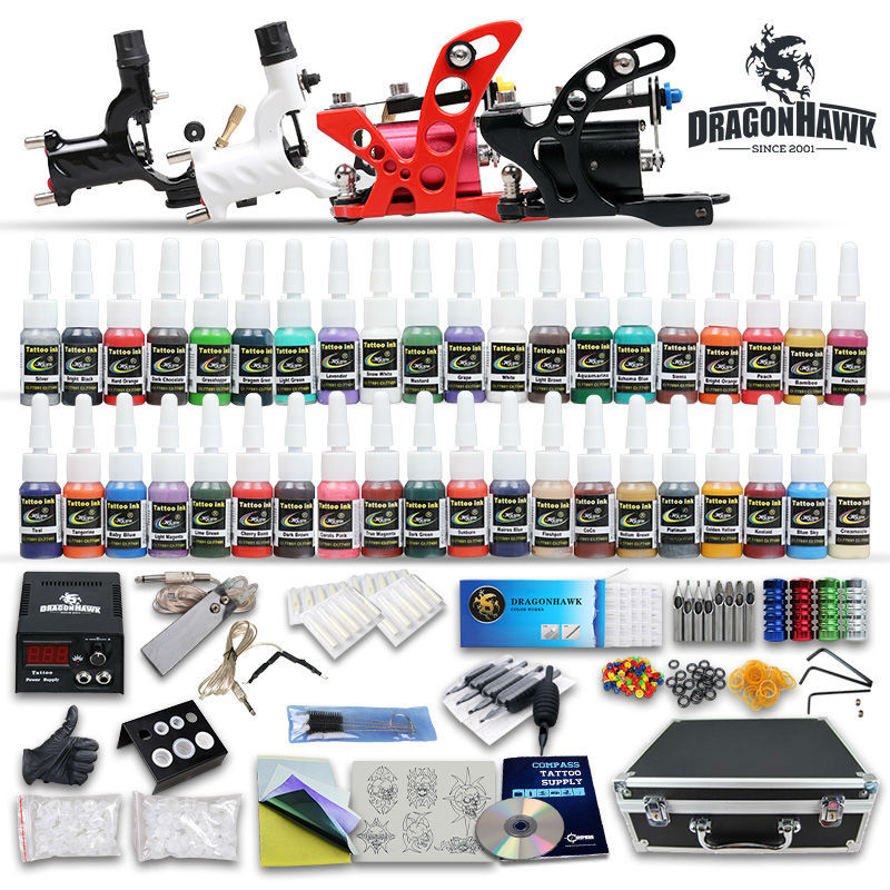 Complete tattoo kit 4 pcs rotary tattoo machines 40 tattoo for Supplies for tattooing