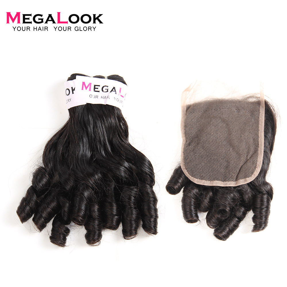 Megalook Brazilian Funmi Curly Hair Bundles with 4 4 Lace Closure Baby Curl 100 Human Hair