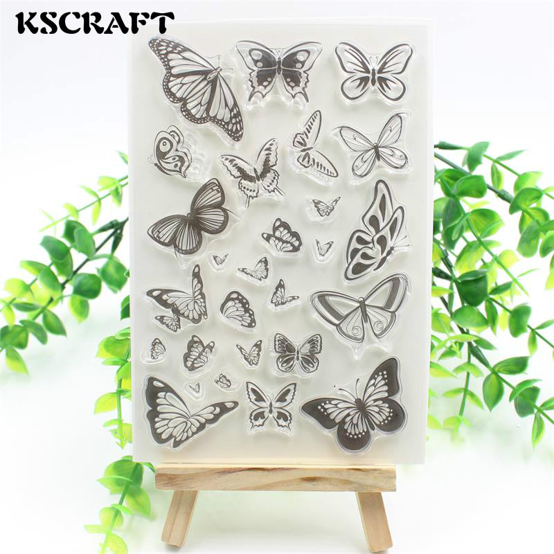 KSCRAFT Butterflies Transparent Clear Silicone Stamp/Seal for DIY scrapbooking/photo album Decorative clear stamp sheets lovely elements transparent clear silicone stamp seal for diy scrapbooking photo album decorative clear stamp sheets