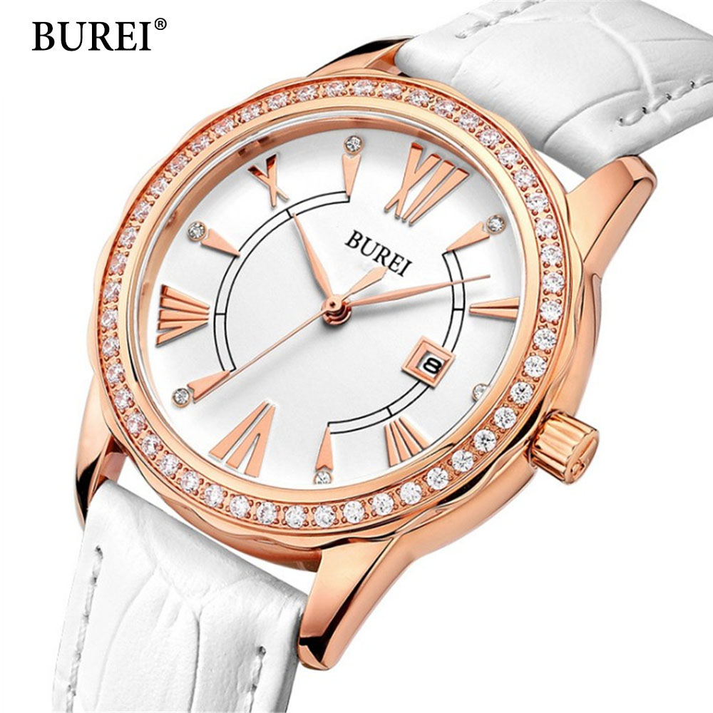 Ladies Fashion Quartz Watch Women Rhinestone Leather Casual Dress Women's Watch Rose Gold Crystal reloje mujer 2017 montre femme ladies fashion brand quartz watch women rhinestone pu leather casual dress wrist watches crystal relojes mujer 2016 montre femme