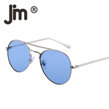 JM Wholesale 10pcs/lot Retro Clear Flat Tinted Lens Driving Sunglasses Women Men UV400 Metal Frame Vintage Sun Glasses