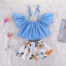 Summer Fashion Girl Blue Suspender Top And White Print Skirt Kit Kid Two-piece Outfit Set Newborn Baby Clothes