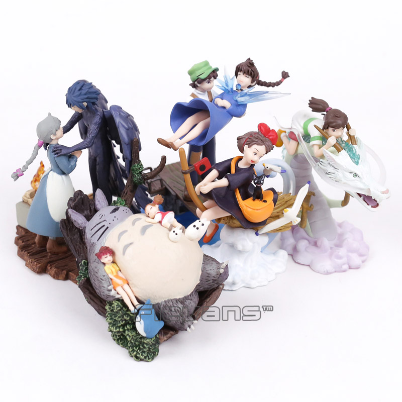 Spirited Away The Castle in the Sky Kiki's Delivery Service Totoro Howl's Moving Castle PVC Figures Collectible Toys 5pcs/lot seize the sky